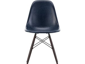 Eames Fiberglass Side Chair DSW – navy blue/dark maple