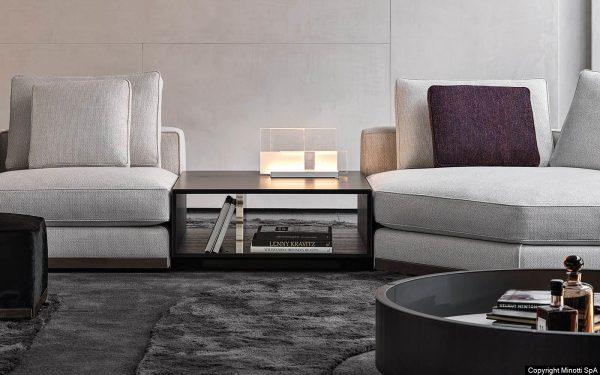 Minotti - soffa West, soffbord Amber, miljöbild