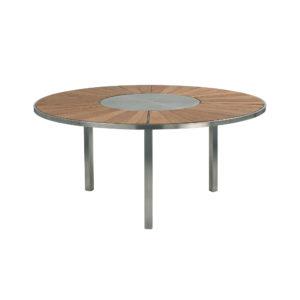 O-Zon Teak Round Table 160 with Steel Center