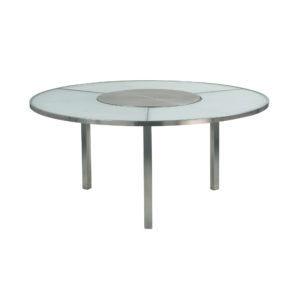 O-Zon Glass Round Table 185 with Steel Center