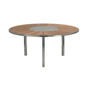 O-Zon Teak Round Table 185 with Steel Center