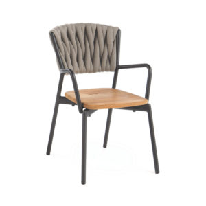 Piper Padded Belt Armchair with Teak Seat